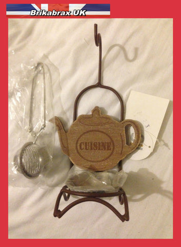 Tea Infuser With Decorative Infuser Holder - SiL Brand - New Boxed