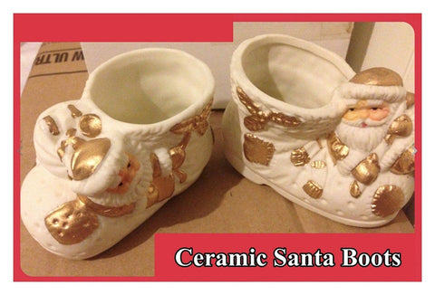Pair of 2 x Gold & White Ceramic Santa Boots Christmas Ornaments Decoration SIL