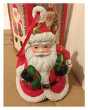 Detailed Ceramic Santa Shaped Christmas Bell Ornament - Hangable Decoration New
