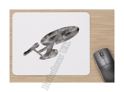 Unofficial USS Enterprise Marble Effect Trek Mouse Matt - Star Trek Inspired - Standard Mouse Mat - New