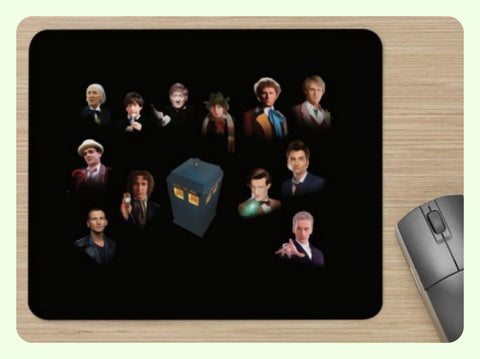 Unofficial Dr Who 12 Doctors Mouse Pad  / Mouse Mat - Soft Mouse Mat - New