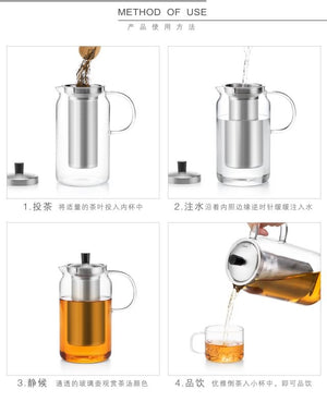 Samadoyo 1200ml Borosilicate Glass Teapot