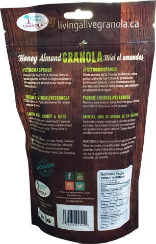 living alive honey almond granola 500 grams
