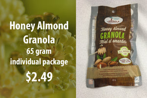 Honey almond granola 65 gram Individual pack