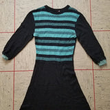 Black and Teal Wool Knit Dress