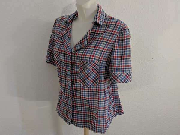 Plaid Short Sleeve Blouse