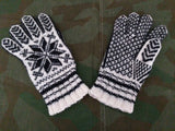 White and Black Knit Snowflake Gloves