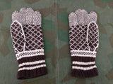 Brown and Cream Knit Gloves