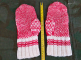 Large Size Red White Snowflake Knit Mittens