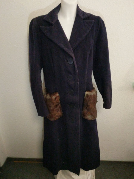 Blue Long Winter Coat with Rabbit Fur Trim (as-is)