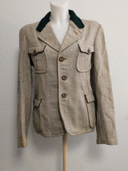 Wool Trachten Jacket with Green Trim