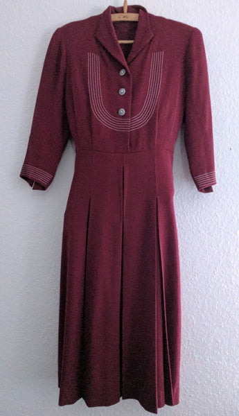 Red Button Down Dress with White Trim
