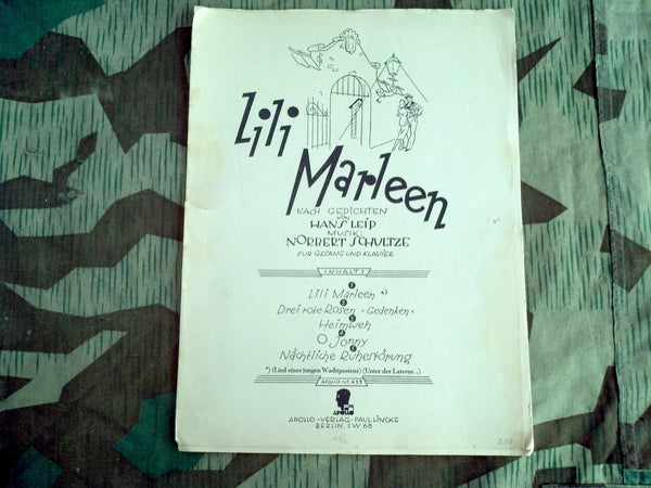 Original WWII German 1940 Lili Marleen Sheet Music