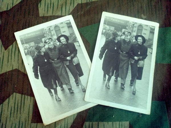Original WWII German Postcard of a Soldier With 2 Women