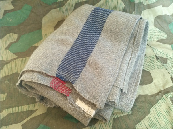 Original WWII German Wool Striped Blanket