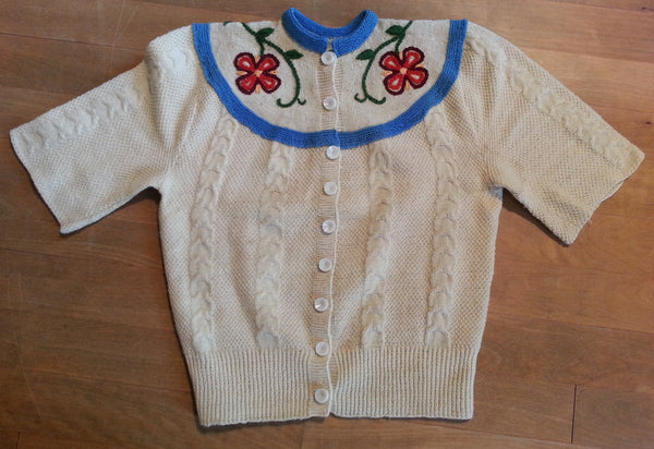 Vintage 1930s/1940s German Short Sleeve Button Down Sweater