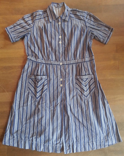 Vintage 1940s/1950s German Blue and White Print Plus-Size Dress
