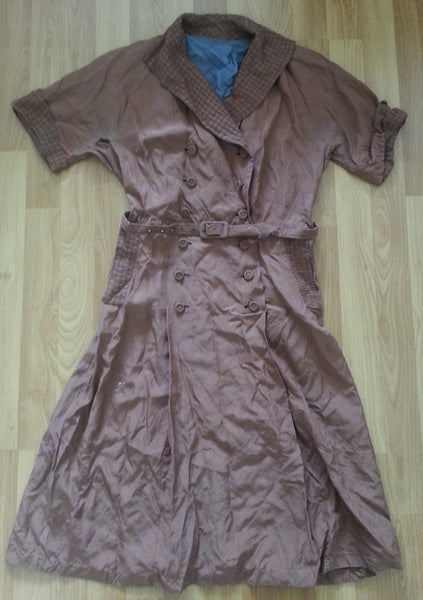 Vintage 1940s German Tan Double Button Down Dress w Belt