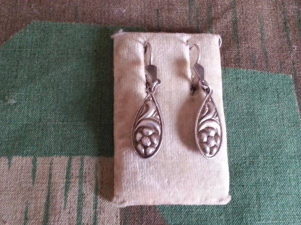 Vintage German Tear Drop Flower Earrings