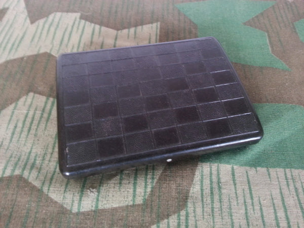 WWII-era German Bakelite Cigarette Case w Hinged Checkered Lid