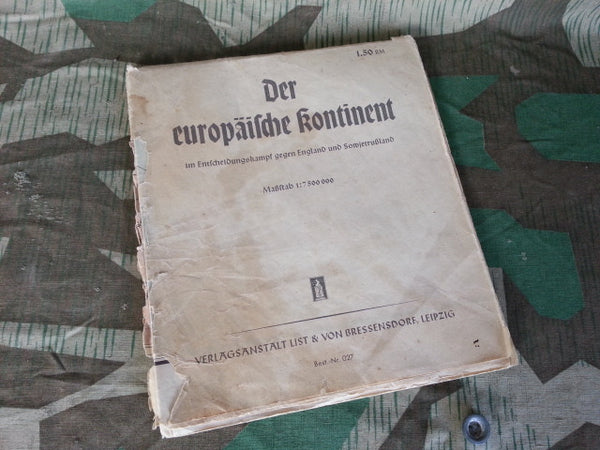 WWII German Map Deciding War Against England & Soviet Russia