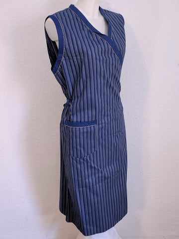 Blue Striped Wrap Dress (Adjustable Size)