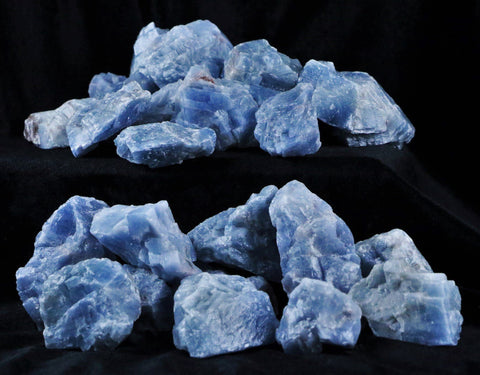 NATURAL BLUE CALCITE CRYSTALS FROM MEXICO INLAY HEALING CHAKRA BY THE POUND - Fossil Age Minerals
