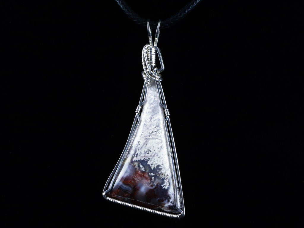 NATURAL CACTUS LACE AGATE PENDANT GEMSTONE FROM MEXICO .925 SILVER WIRE WRAPPED - Fossil Age Minerals