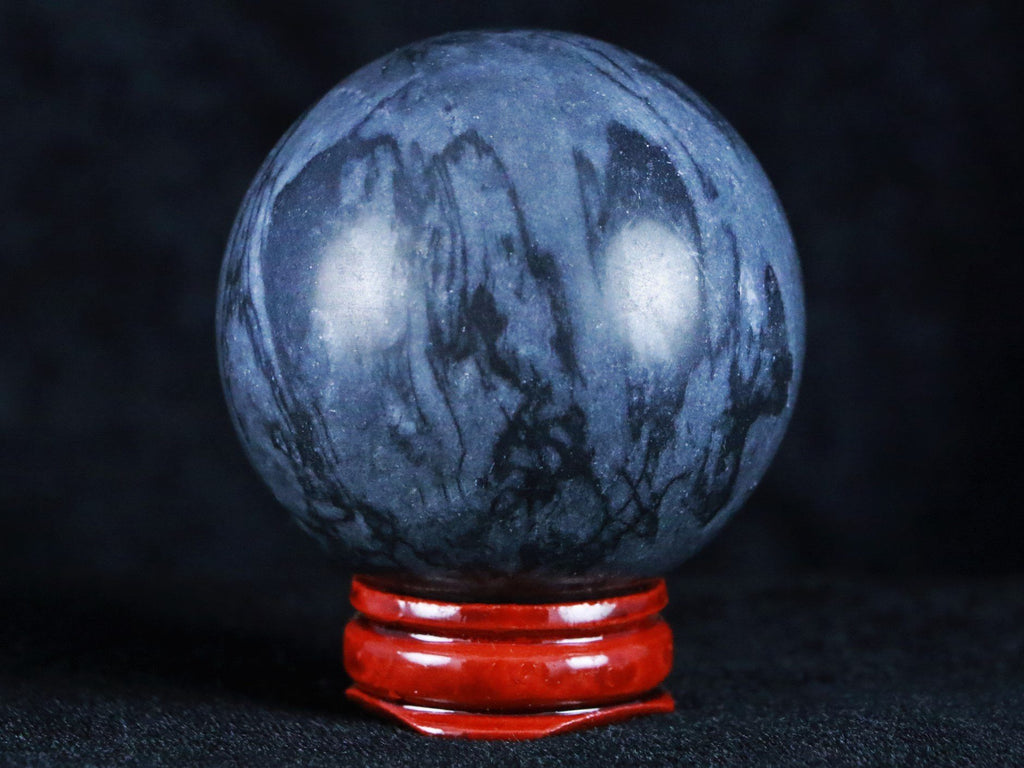XL 52MM NATURAL COBBLESTONE SPHERE BALL ORB POLISHED HAND CARVED HEALING FREE STAND - Fossil Age Minerals