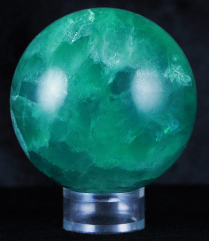NATURAL GREEN FLUORITE CRYSTAL SPHERE BALL MINERAL SPECIMEN HEELING 57MM-Fossil Age Minerals