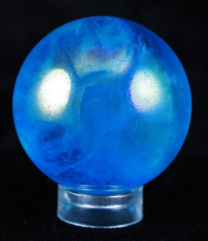 BLUE CRYSTAL QUARTZ SPHERE BALL RAINBOW AURA TITANIUM SILICON 34MM FREE STAND