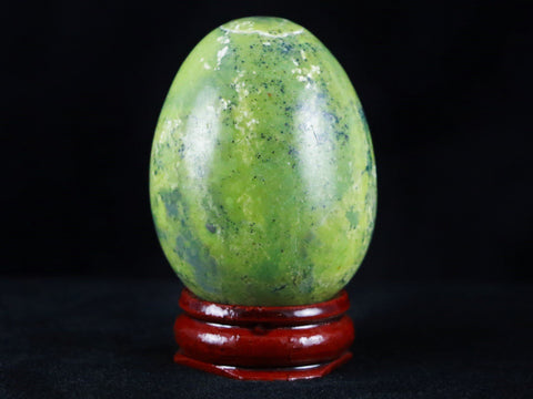 35MM NATURAL GREEN SERPENTINE WITH PYRITE GEMSTONE EGG FROM PERU FREE STAND - Fossil Age Minerals