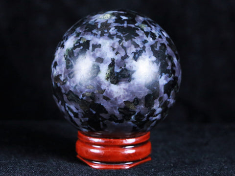 XL 51MM NATURAL GABBRO POLISHED SPHERE BALL FROM MADAGASCAR CALCIUM PLAIOCLASE - Fossil Age Minerals