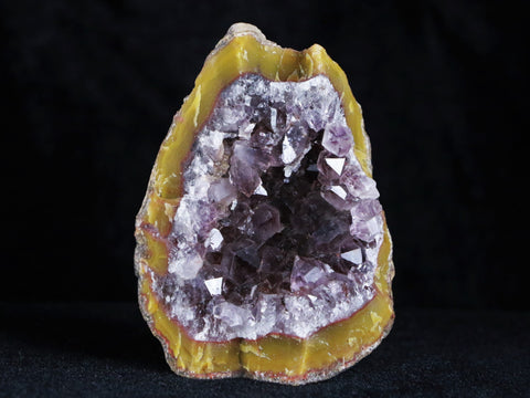 RARE NATURAL WARRING STATES YELLOW AGATE AMETHYST CRYSTAL GEODE SPECIMEN CHINA
