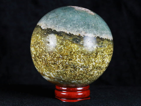 XL 68MM NATURAL POLISHED OCEAN JASPER CRYSTAL SPHERE FROM MADAGASCAR 14.5 OZ FREE STAND