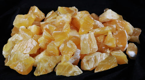 NATURAL YELLOW CALCITE CRYSTALS FROM MEXICO INLAY HEALING CHAKRA BY THE POUND - Fossil Age Minerals