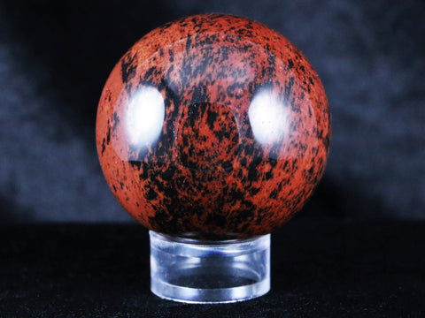 NATURAL RED MAHOGANY OBSIDIAN SPHERE BALL 50MM FROM MEXICO FREE STAND HEALING - Fossil Age Minerals