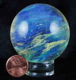 SMELT YELLOW BLUE CLEAR QUARTZ CRYSTAL SPHERE BALL FREE STAND 5.8 OZ 52MM HEALING-Fossil Age Minerals
