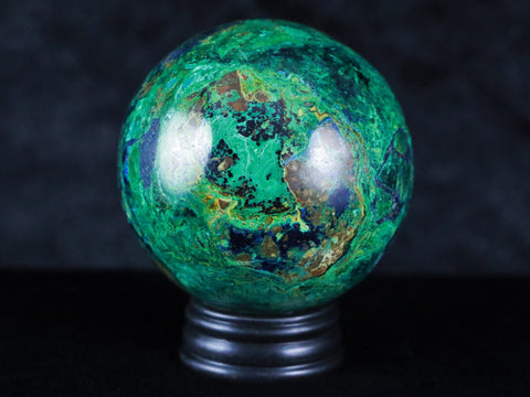 XL 55MM AZURITE & MALACHITE MATRIX VUG SPHERE BALL HIGH GRADE A++ FREE STAND PERU RARE