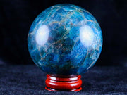 XL 60MM NATURAL POLISHED BLUE APATITE CRYSTAL SPHERE BALL MINERAL SPECIMEN MADAGASCAR - Fossil Age Minerals