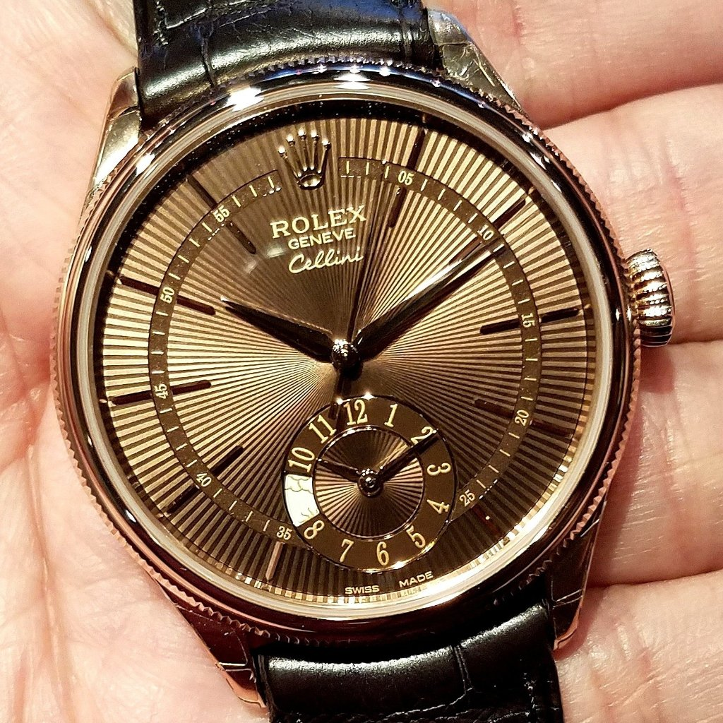 Rolex Cellini Dual Time Everose Gold 39mm 50525 Brown Guilloche Dial