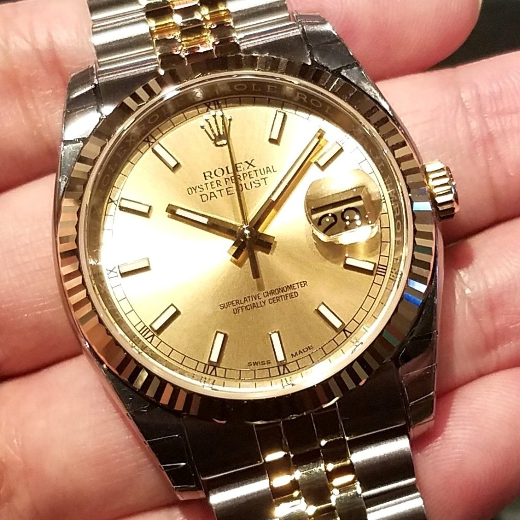 Rolex Datejust 36mm 116233 Champagne Index Dial (Jubilee Bracelet)