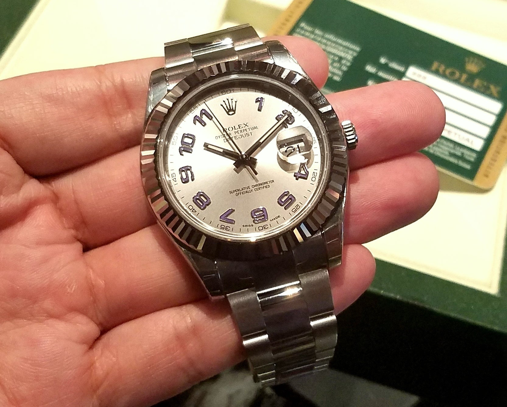 Rolex Datejust II 41mm 116334 Silver Dial Blue Arabic Numerials (Out of Production)