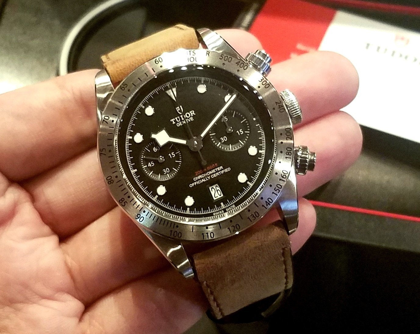 Tudor Heritage Black Bay Chrono 41mm 79350 Leather Strap