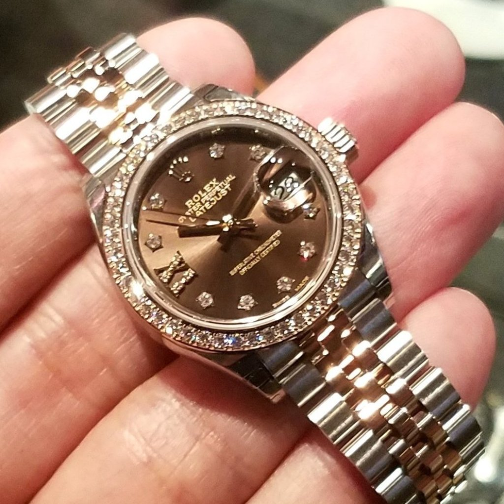 Rolex Datejust 28mm 279381RBR Chocolate Dial with IX Diamonds & Diamonds (Jubilee Bracelet)