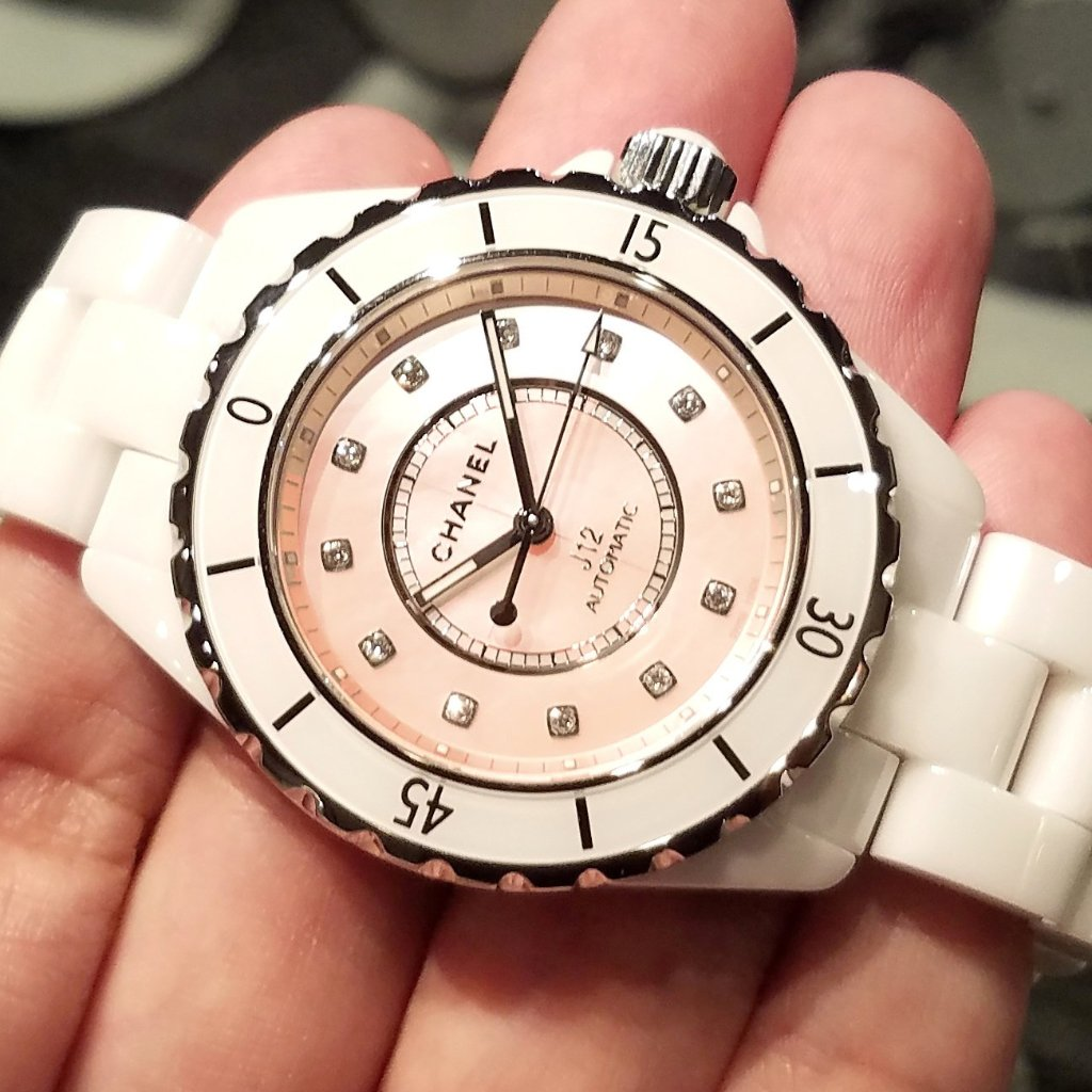 Chanel J12 Watch Pink Mother-of-Pearl Dial with Diamonds 38mm H5514 (Limited Edition of 1200 Pieces)