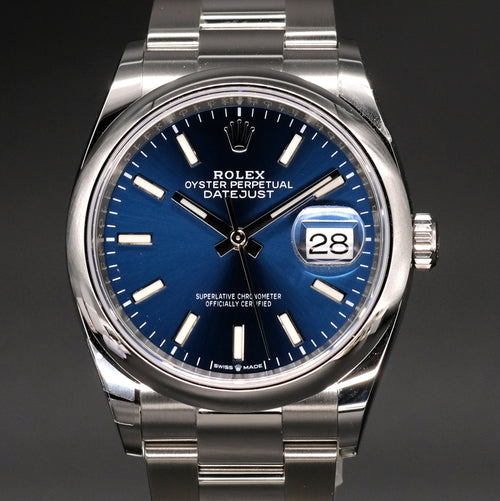 [Brand New Watch] Rolex Datejust 36 36mm 126200 Blue Index Dial (Oyster Bracelet)