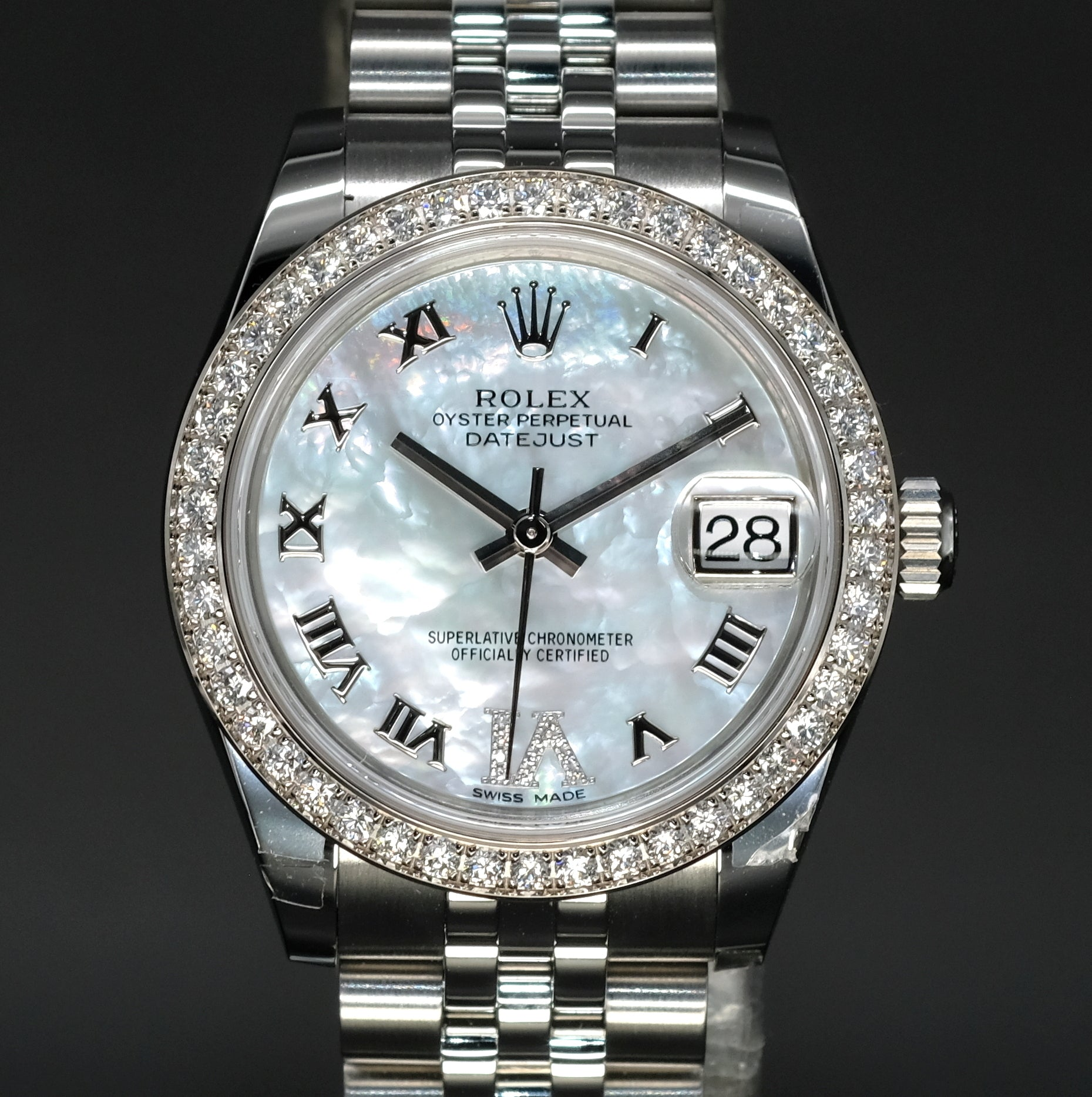 [Brand New Watch] Rolex Datejust 31 31mm 178384 White Mother-of-Pearl Dial with VI Diamonds (Jubilee Bracelet)
