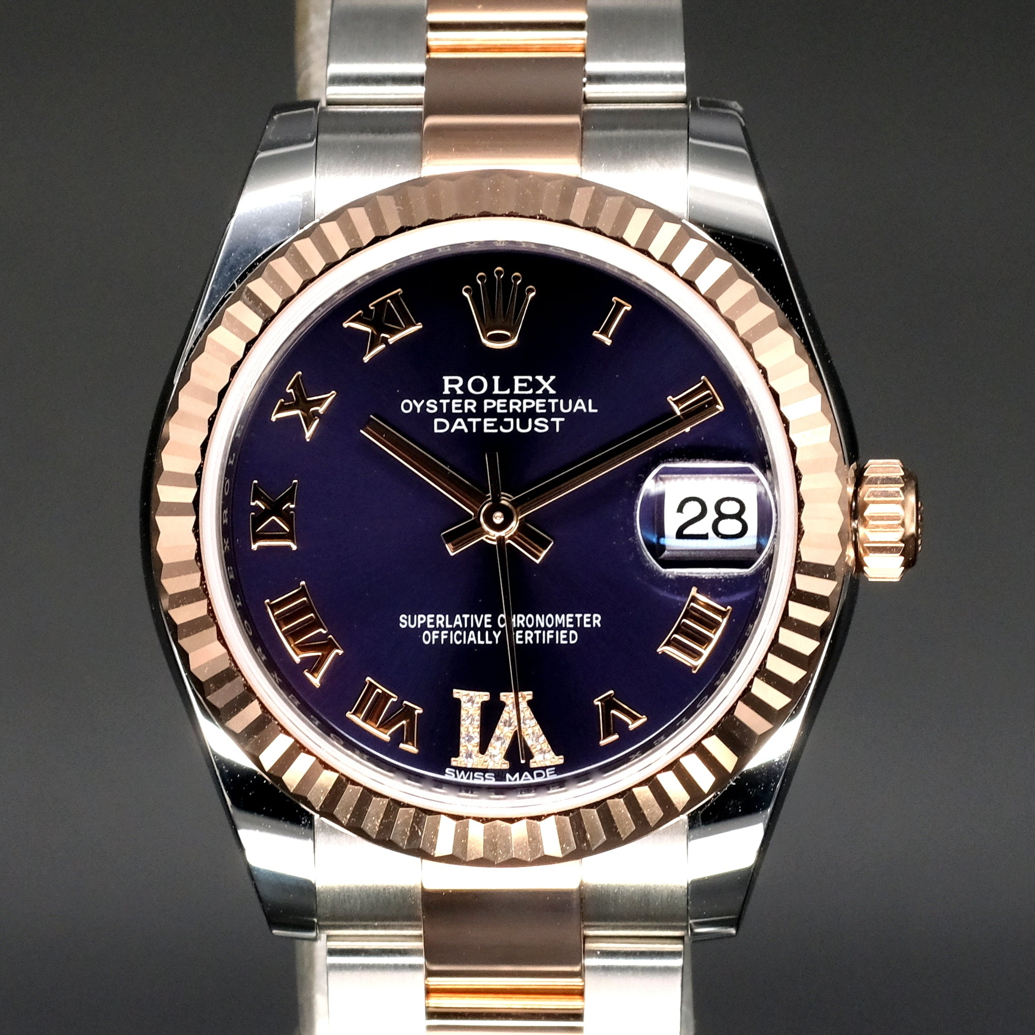 [Brand New Watch] Rolex Datejust 31mm 178271 Purple Dial with VI Diamonds (Oyster Bracelet)