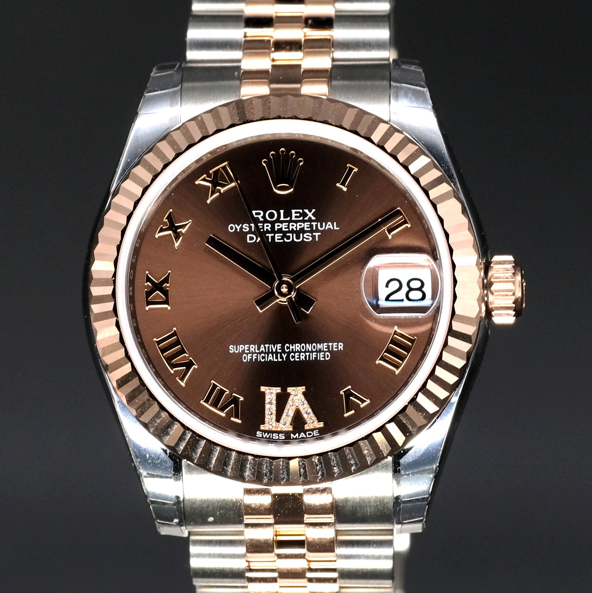 [Brand New Watch] Rolex Datejust 31mm 178271 Chocolate Dial with VI Diamonds (Jubilee Bracelet)